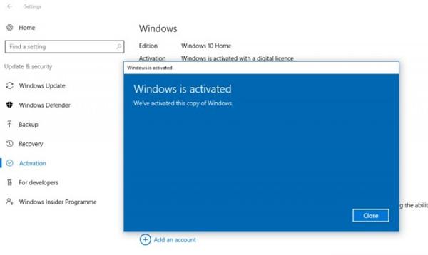 Windows Berhasil Aktif