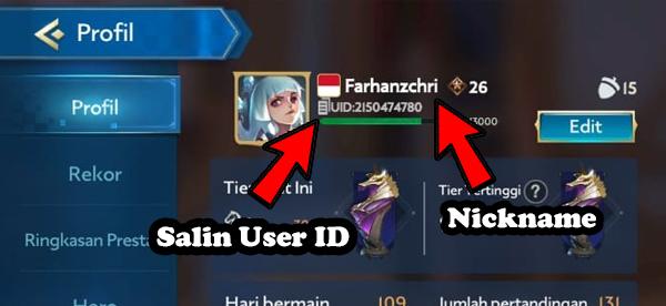 Salin User ID dan Nickname