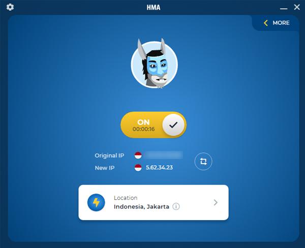 HMA VPN Berhasil Aktif